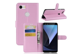 For Google Pixel 3 Leather Wallet Case Pink Lychee Texture Cover Card Slots