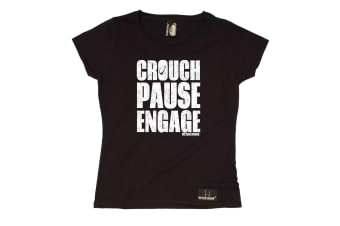 Up And Under Rugby Tee - Crouch Pause Engage - (Large Black Womens T Shirt)