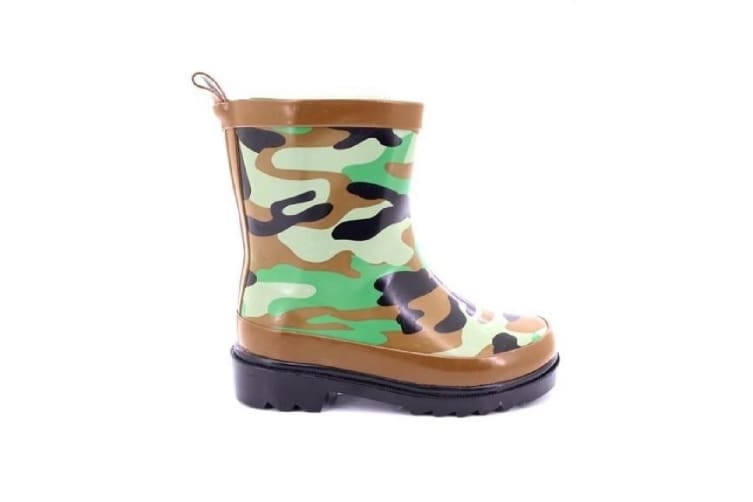 StormWells Childrens/Kids Camouflage Print Wellingtons (Green/Brown/Black) (11 UK)