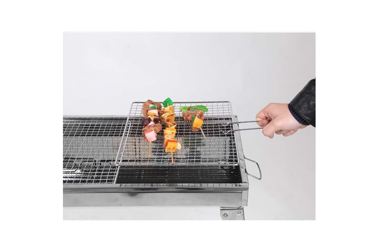 SOGA 2X Skewers Grill with Side Tray Portable Stainless Steel Charcoal BBQ Outdoor 6-8 Persons