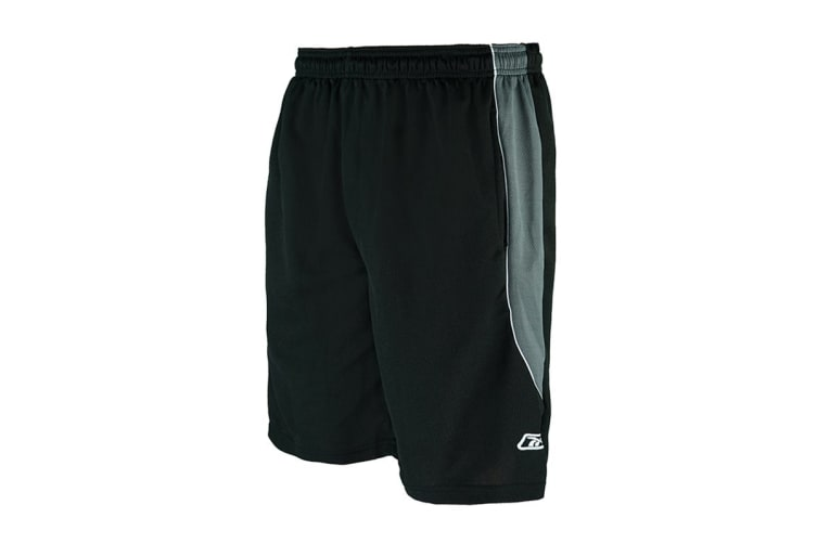 Reebok Men's Two-Toned Athletic Performance Mesh Shorts (Black/Charcoal, Size L)