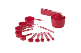 Edge Design 11 Piece Red Plastic Measuring Cup And Spoon Set