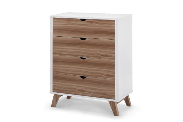 Ovela Scandinavian Style Chest of 4 Drawers (White & Birch)