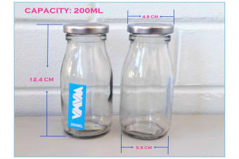 36 x Mini Glass Soda Milk and Candy Bottle With Screw Top Silver Lid 200 ML