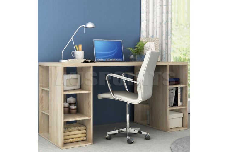 Light Oak Desk With Bookcase Shelves Office Computer Desk Table Storage Shelf