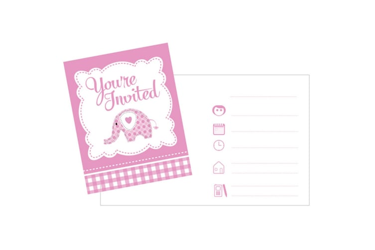 Creative Party Baby Sweet Elephant Invitations (Pack Of 8) (Pink/White) (One Size)
