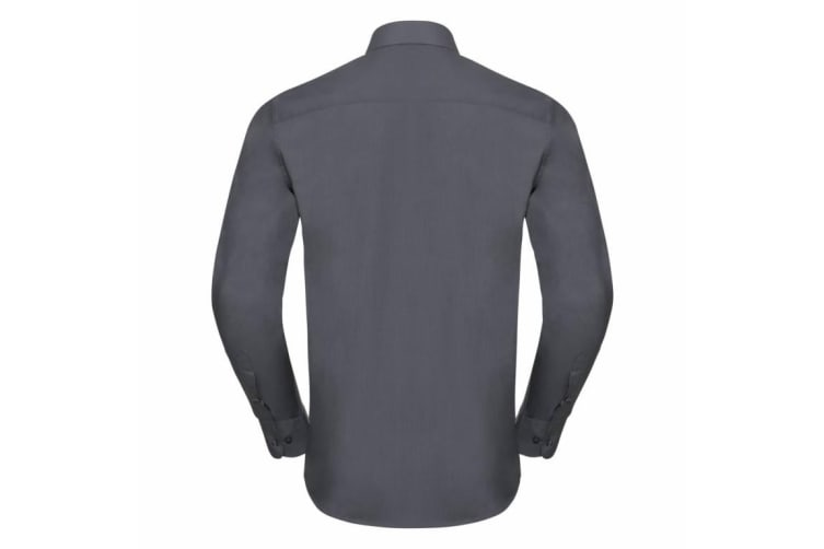 Russell Collection Mens Long Sleeve Poly-Cotton Easy Care Tailored Poplin Shirt (Convoy Grey) (S)