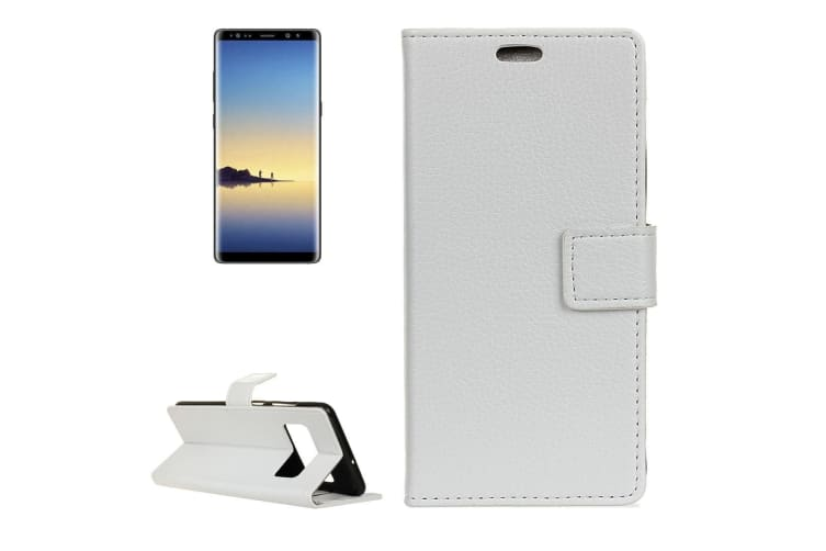 big sale 29522 8f47f For Samsung Galaxy Note 8 Wallet Case Lychee Textured Flip Leather Cover  White