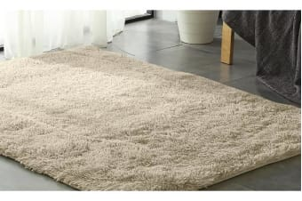 New Designer Shaggy Floor Confetti Rug CREAM 200x230cm