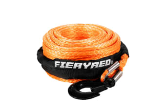 Fieryred 10MM x 30M Synthetic Winch Rope Dyneema SK75 Tow Recovery Rope Orange 4WD