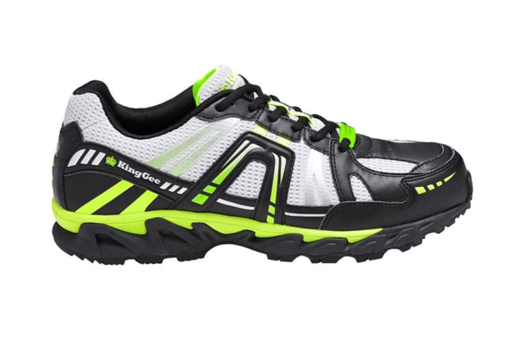 King Gee Men's Comp-Tec G10 Sport Safety Shoe (Black/Lime, Size 6)