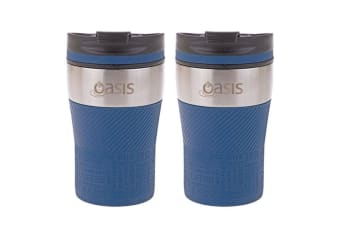 2PK Oasis 280ml Cafe Stainless Steel Insulated Travel Drink Cup Flask Navy Blue