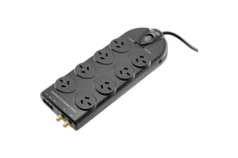 Doss 8 Way Surge Protected Powerboard Black 3672 Joules Surge Protection