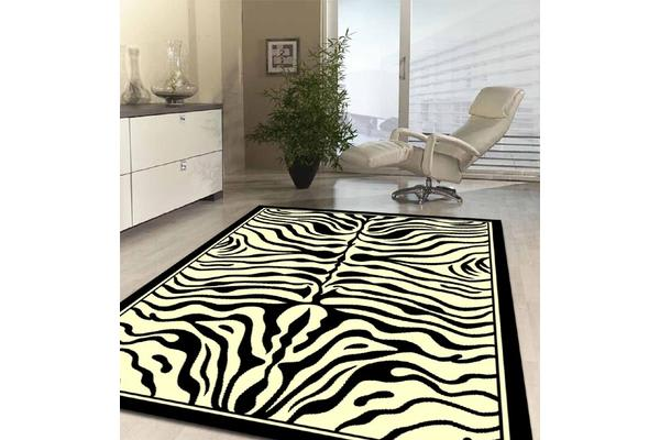 Zebra Print Black and Off White Rug 230x160cm