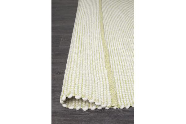 Phoebe Green & White Handmade Felted Wool Scandi Rug 225x155cm