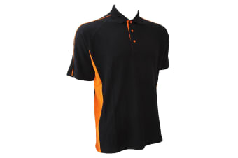 Finden & Hales Mens Sports Polo T-Shirt (Black/Orange)
