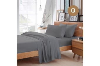 Queen Size Grey Color Poly Cotton Fitted Sheet Flat Sheet Pillowcase Sheet Set