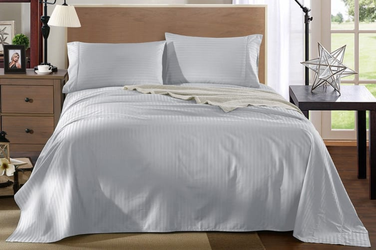 Royal Comfort Kensington 1200TC 100% Egyptian Cotton Stripe Bed Sheet Set (King, Grey)
