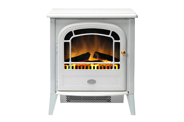 Dimplex 2kW Courchevel Portable Electric Fire with Optiflame Log Effect - White (COURCHEVEL)
