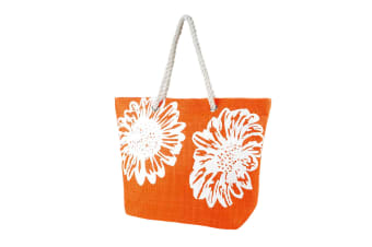 Womens/Ladies Floral Print Woven Summer Handbag (Orange) (One Size)