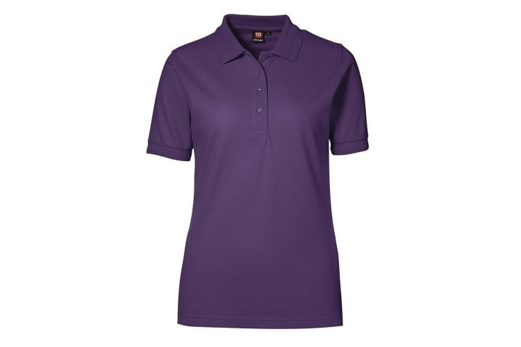ID Womens/Ladies Pro Wear Short Sleeve Regular Fitting Classic Polo Shirt (Purple) (XL)