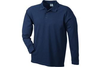James and Nicholson Unisex Heavy Pique Long-Sleeved Polo (Navy) (XXL)