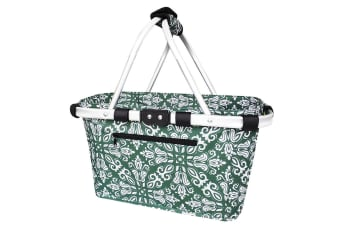 Sachi Carry Shopping Picnic Camping Basket Collapsible Tote Bohemian Green