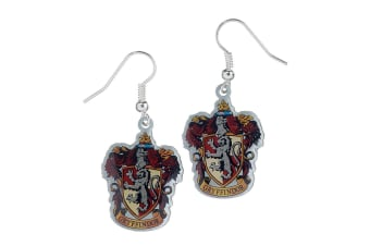 Harry Potter Silver Plated Gryffindor Earrings (Multicoloured)