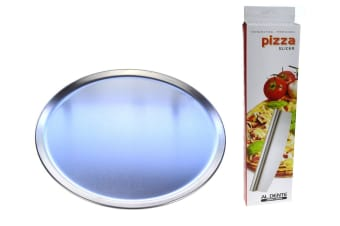 Pizza Flat Pack - 2 X 300mm Pizza Plates And Rocking Pizza Cutter
