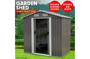 Garden Shed Spire Roof 4ft x 6ft Outdoor Storage Shelter - Grey
