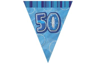 Unique Party Blue 50 Glitz Pennant Bunting (Blue) (One Size)