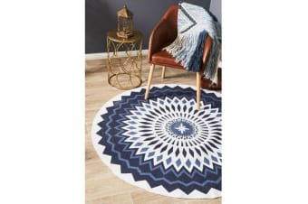 Navy & White Hand Braided Cotton Burst Flat Woven Rug - 150X150CM