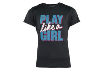 "Under Armour Girls' ""Play Like a Girl"" T-Shirt (Black/Blue/White)"