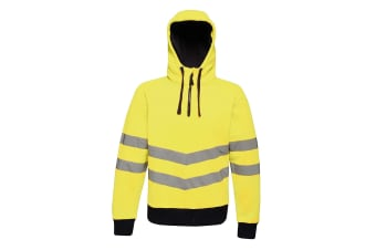Regatta Mens Hi Vis Pro Overhead Stretch Reflective Hoodie (Yellow/Navy)