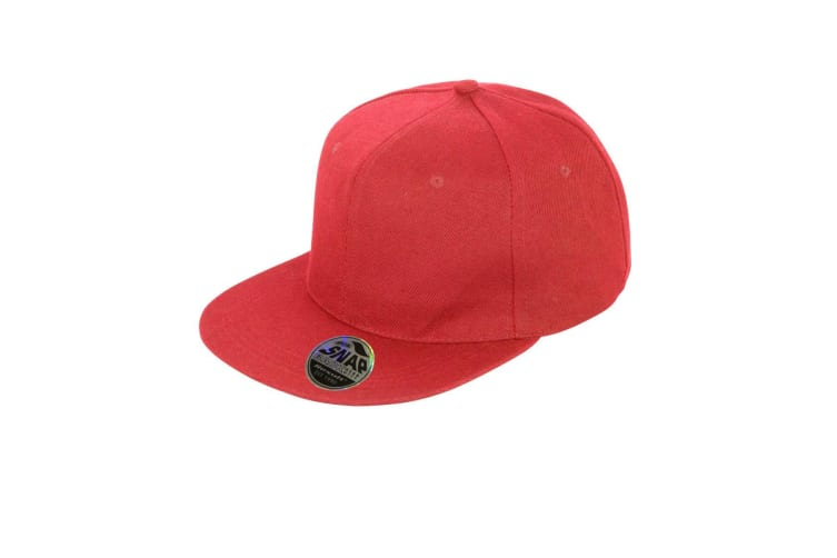 Result Unisex Core Bronx Original Flat Peak Snapback Solid Colour Cap (Pack of 2) (Red) (One Size)