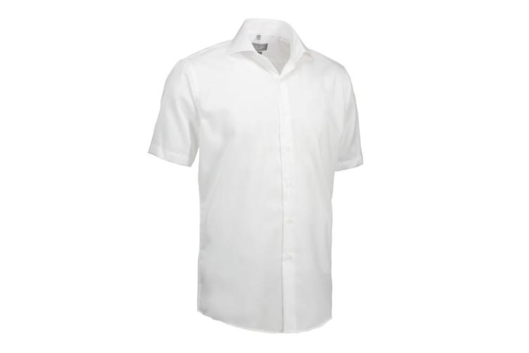 ID Mens Fine Twill Shirt Short Sleeve Modern Fit (White) (M)