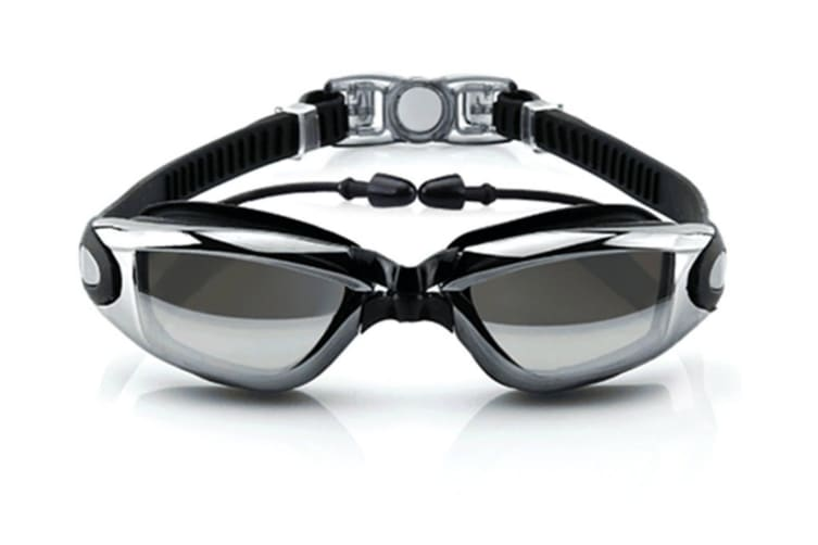 Unisex Adult Waterproof Anti-Fog Uv Protective Electroplating Swimming Goggles Glasses Black
