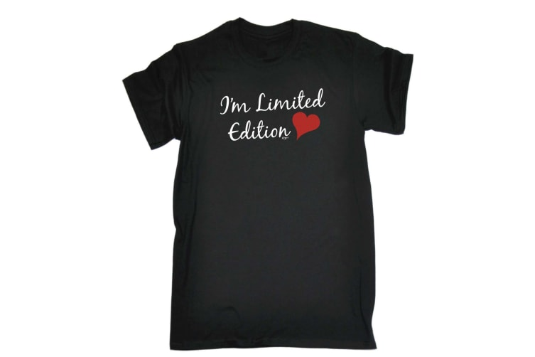 123T Funny Tee - Im Limited Edition Heart - (XX-Large Black Mens T Shirt)