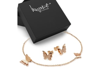 Boxed Exquisite Butterfly Earrings & Charm Anklet Set