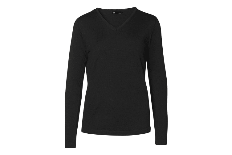 ID Womens/Ladies Fitted Knitted V-Neck Pullover Sweatshirt/Jumper (Black) (3XL)