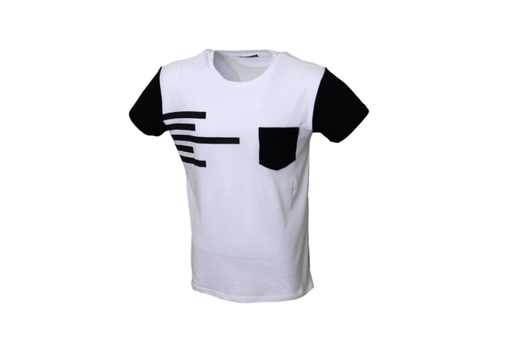 New Men's Summer Fashion T-Shirt Short Sleeve Casual Adults Top Tee Gym Shirts - White