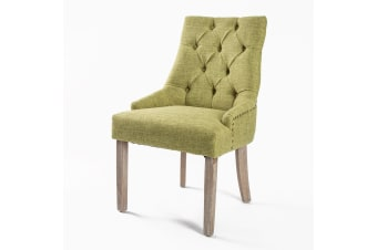 1X French Provincial Oak Leg Chair AMOUR - GREEN