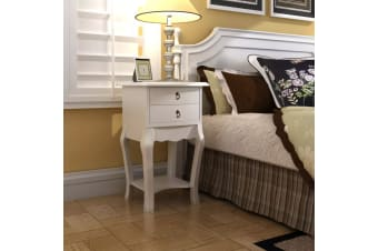 vidaXL Nightstand with 2 Drawers White