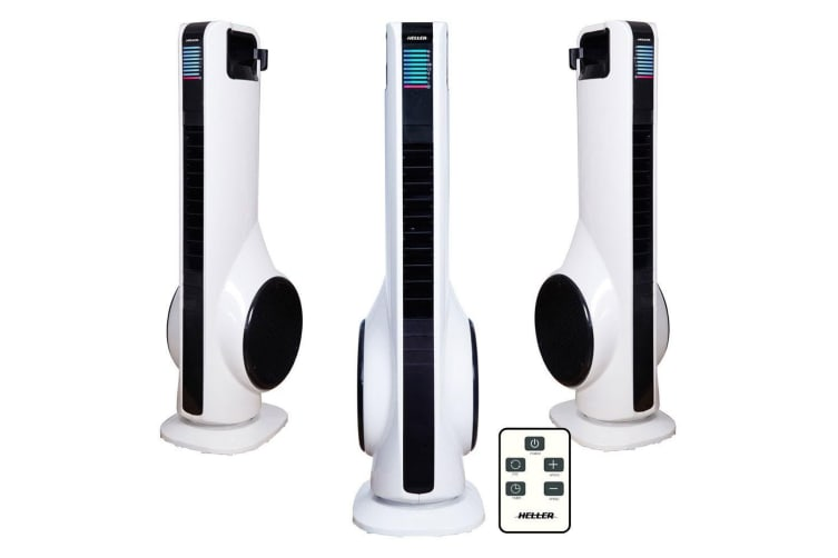 Heller 3 Speed 70cm Turbo Tower Fan/Air Cooler/Cooling w/Remote Cont/Oscillation