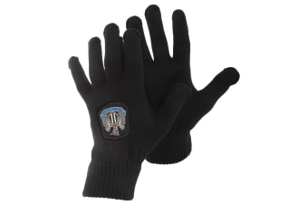 Newcastle United FC Mens Official Knitted Winter Football Crest Gloves (Black)