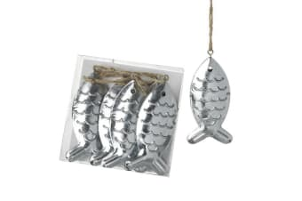 Metal Hanging Fish (6 Pieces) (Silver) (One Size)