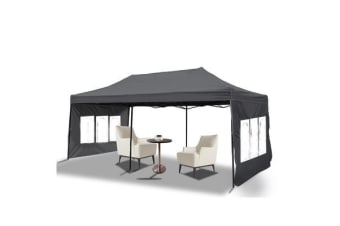 3x6m Pop Up Gazebo Folding Marquee in Grey