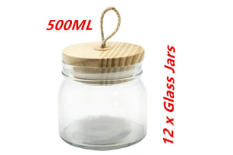 12 x 500ml Glass Jars Multi-purpose Storage Jar Wooden Airtight Lid Canister