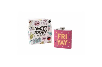 Sweet Tooth Fri Yay Hip Flask (Pink/Yellow)