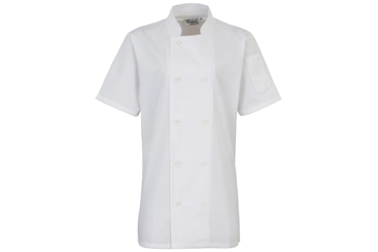 Premier Womens/Ladies Short Sleeve Chefs Jacket / Chefswear (White) (L)